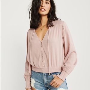NWT Abercrombie Pinkish Mauve Button Top